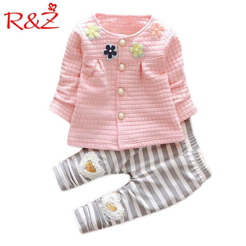 2017 Nuevo Bebé Ropa niñas flor Suit Cardigan + Pantalones 2 unids/set chaqueta infantil niños ropa pantalones de rayas envío gratis k1