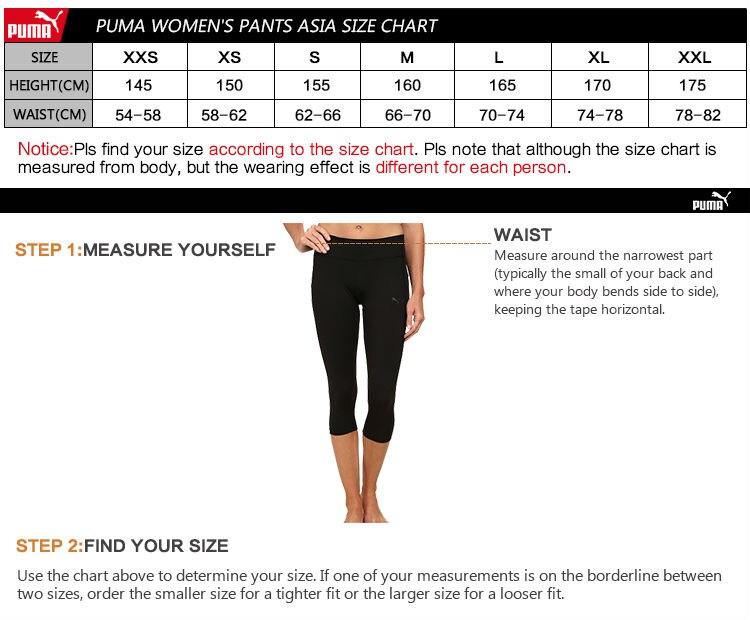 puma xl size chart