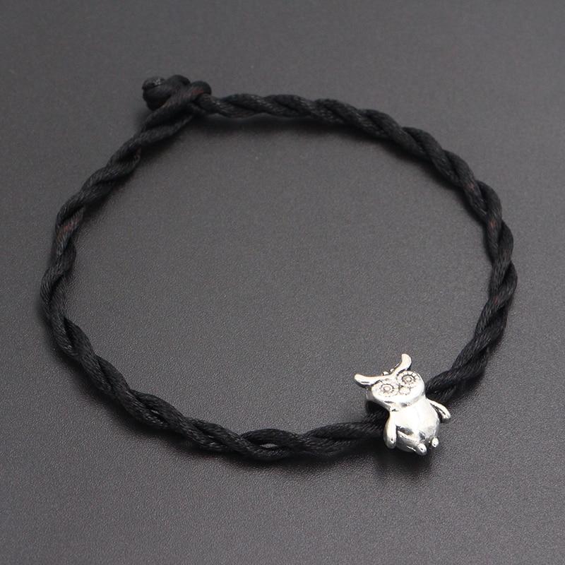 2020 New Cute Owl Beads 4mm Red Thread String Bracelet Lucky Red Handmade Rope Charm Bracelet for Women Men Jewelry