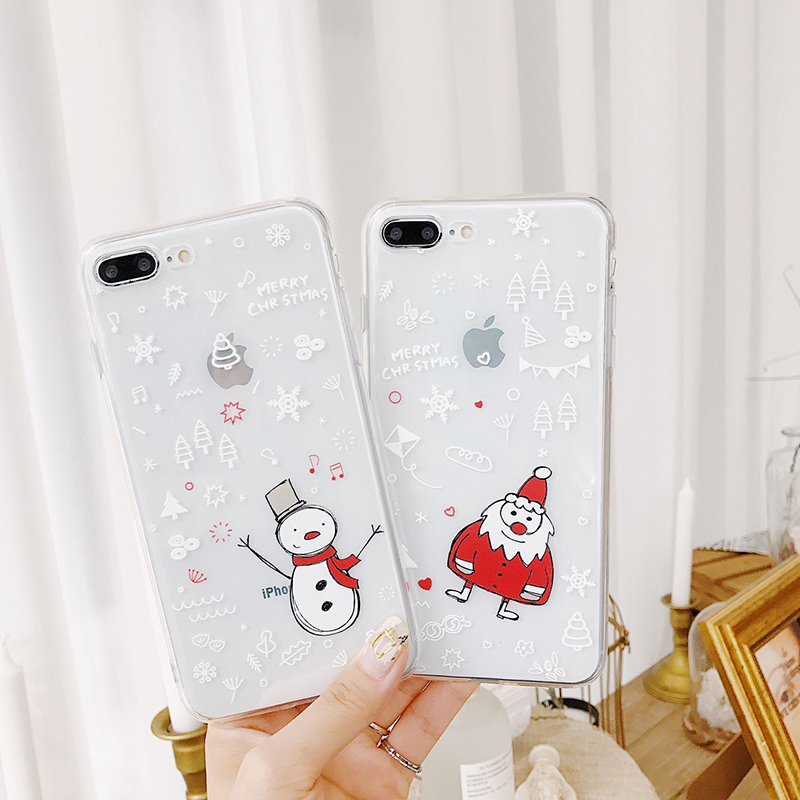 Cartoon Santa Snowman Phone Iphone 6 Iphone X 6S 7 8 Plus Ultra Thin Soft TPU Cover Lovely Couples Cases