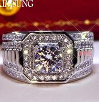 3CT Solid 925 Stelring Silver Wedding Engagement Anniversary Sona Ring Men Brithday Party Trendy punk Vintage Gift G color