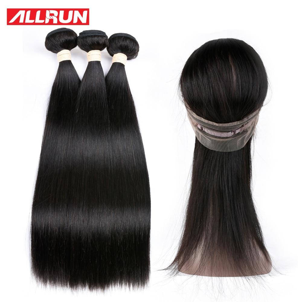 Allrun перуанский 360 Кружева Фронтальная застежка с 3 Связки прямые волосы 100% человеческих волос-Волосы remy расширения 4 шт./лот