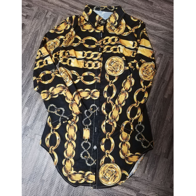 Vestido estampado de encaje para mujer, ropa Sexy para discoteca, corta, dobladillo de curva, estampado de cadena, cinturón, informal, camisa, variedad opcional 5
