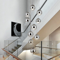 Stairwell chrome Glass Ball chandelier Suspension lamp hang lights for project Living Room Staircase spiral glass Hanging Lamp