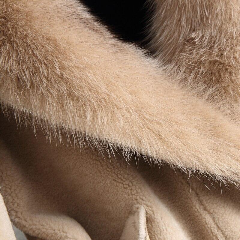 Grand Moutons De Laine Beige Renard Tonte Ayunsue Fourrure Veste Manteau Col Naturel Réel Manteaux 2018 bleu Femmes Des Hiver Avec Wyq2093 AHWt8WPq