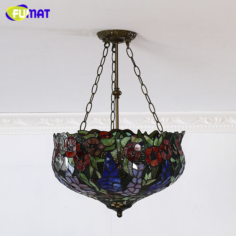 Fumat stained glass pendant lights european style glass art fumat stained glass pendant lights european style glass art lightings for living room dining room classic lamp tiffany lamparas in pendant lights from aloadofball Image collections