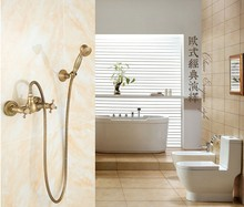 Vintage Antique Brass Design Bathroom Shower Faucet Set / Wall Mounted Luxury Bronze Dual Handle shower set