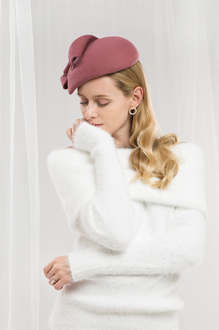 87424451e8bb5 FS lana boda sombreros y tocados de mujer elegante Rosa cóctel negro ...