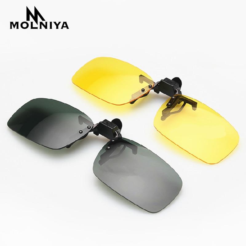 MOLNIYA Clip On Glasses Driving Night Vision Lens Sun Glasses Male Anti-UVA UVB For Men Women Sunglasses JP03