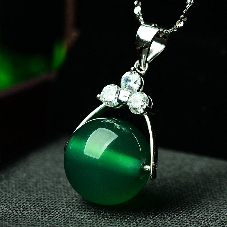 Women Silver Green Ball Bead Jade Gemstone Earrings XXkHH8IM