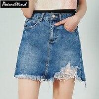 PoemeWind Short Jeans Ripped Skirt Women Blue High Waist Stretch Mini Skirt With Holes Asymmetric A