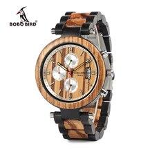 0bb4068e746 Bobo pássaro homens relógio de metal e madeira caso movimento quartzo  relógio pulso esporte aceitar personalizar relogio masculi.