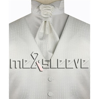 Hot Sale Wedding Formal Wear White Man S Waistcoat Waistcoat Ascot Tie Cufflinks Handkerchief