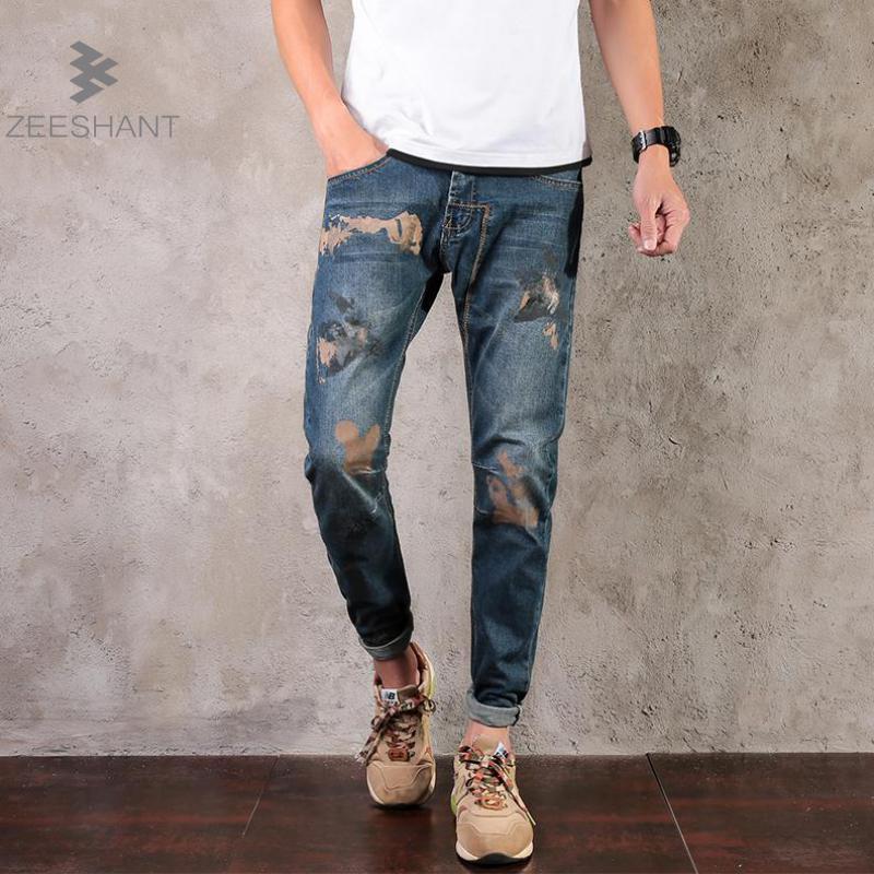 Zeeshant Men New Autumn Winter Jeans Men size 42 Causal Fashion Denim Pants Trousers Cotton Plus Size 29-42 Long Denim Trousers