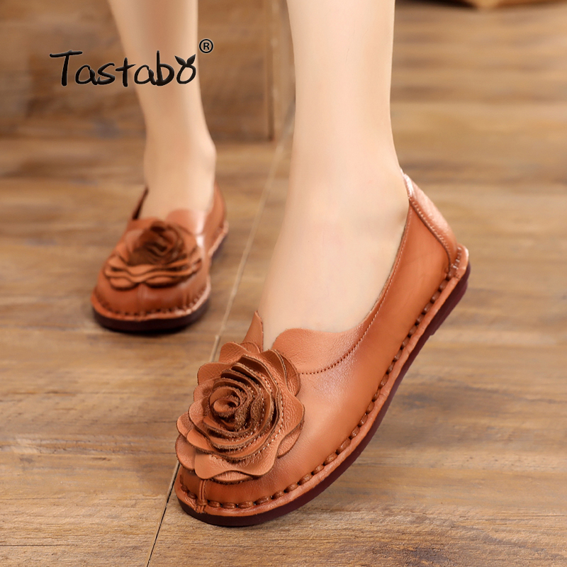 Tastabo Casual Genuine Leather Flat Shoe Women Shoe Flower Slip On Driving Shoe Female Moccasins Women