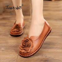 Tastabo Casual Genuine Leather Flat Shoe Women Shoe Flower Slip On Driving Shoe Female Moccasins Women Flats Lady Shoes