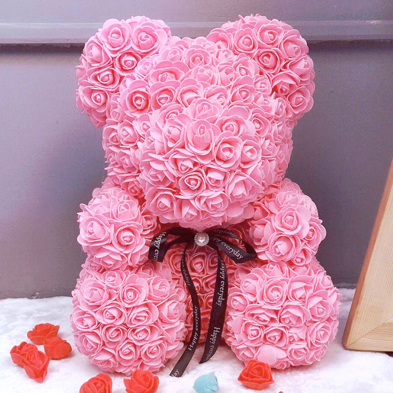 Bath & Shower Lower Price with Diy White Foam Bear Model For Mascot Soap Rose Flower 35cm Plush Toy Mold Lovers Valentines Day Birthday Gift Wedding Present Moderate Price