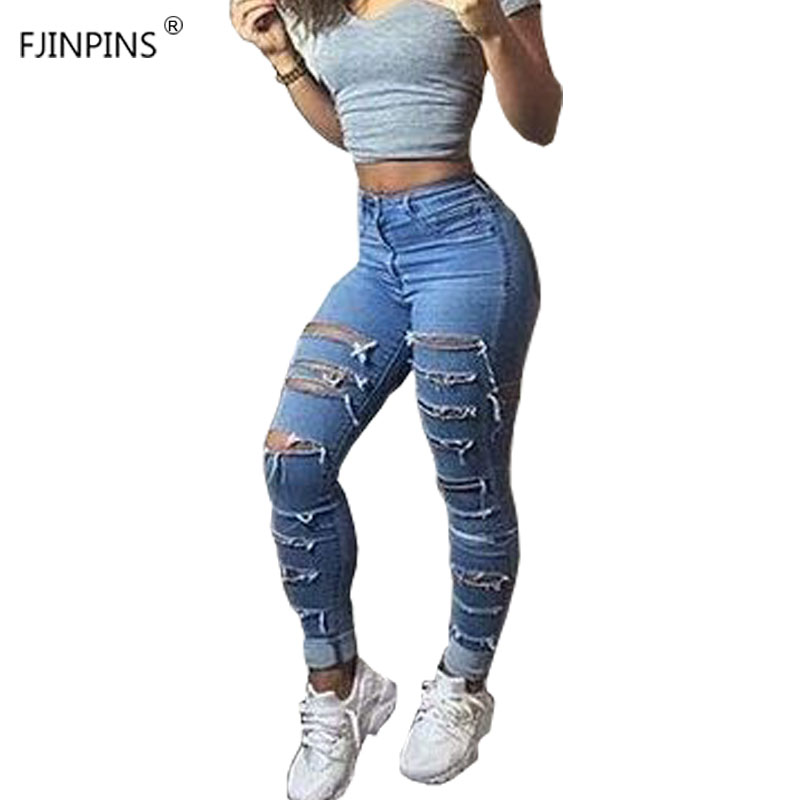 Ripped Jeans for Women Elastic Skinny Pencil Pants Trousers Denim Cotton Womens Ladies Jeans Destroyed Sexy Bagger Plus Size elastic skinny pencil jeans for women