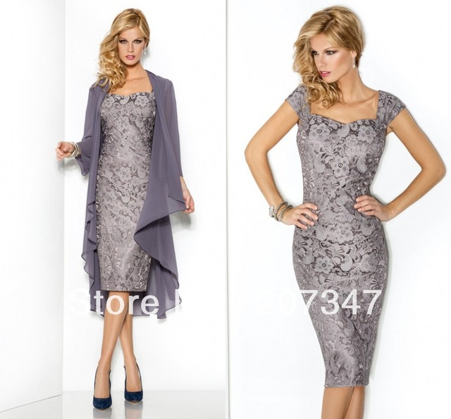 91cf79ae22d A-line Lace Evening Dresses Full Jacket Knee-Length Silver Chiffon And Lace  Short Elegant mother of the bride dress with jacket