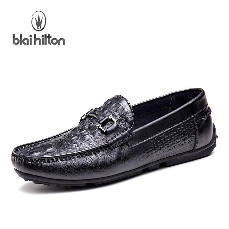 Blai Хилтон летний топ из брендовой натуральной кожи Лоферы Для мужчин повседневная обувь модные водонепроницаемые Мокасины мужские мокасин...