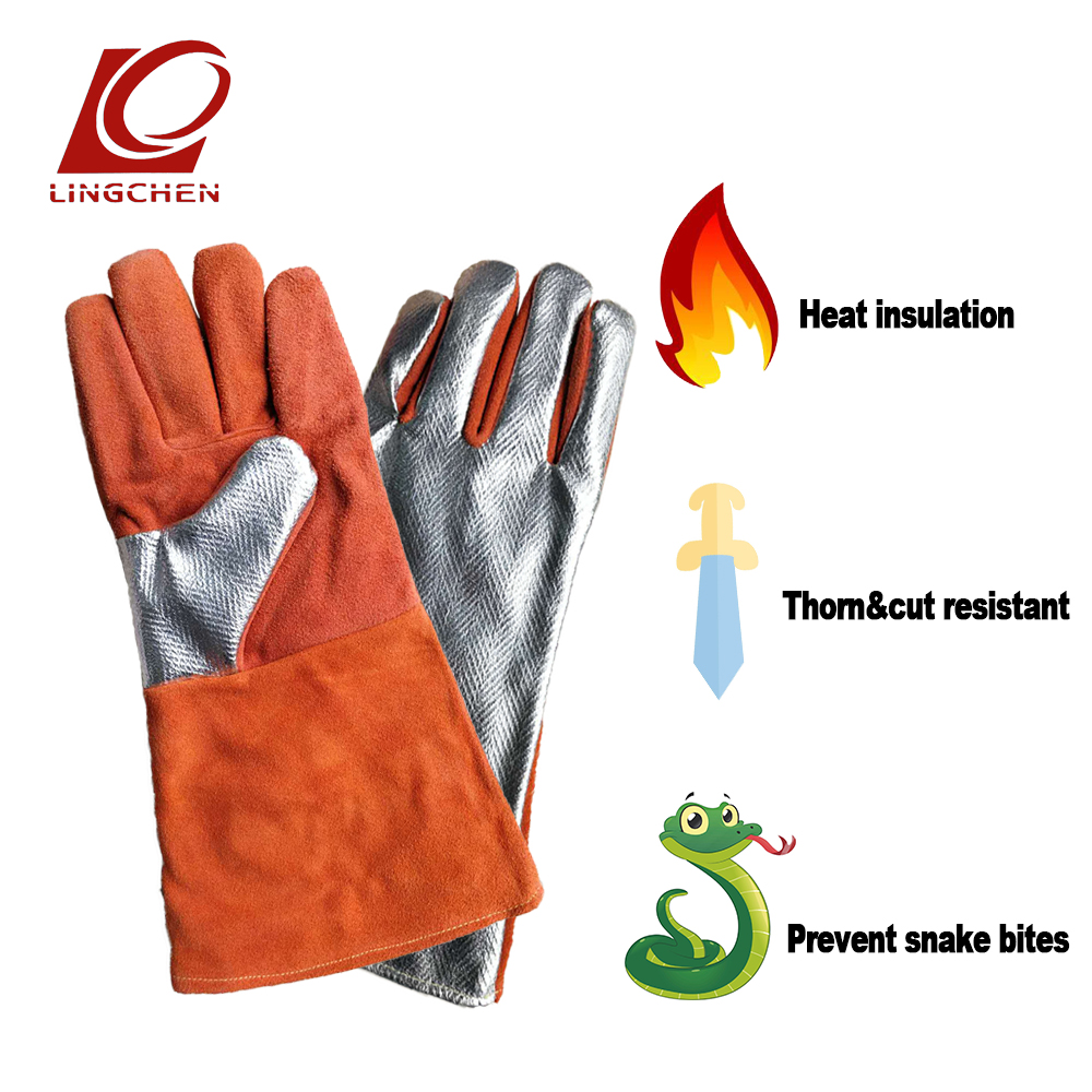 Welding gloves Genuine Leather Gloves Real cowhide Puncture resistance Snake-proof cut resistant High temperature resistance цена