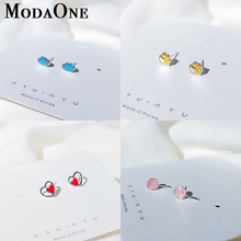 ModaOne Very Cute Colorful Sweet Small Candy Earrings For Girls 925 Sterling Silver Stud Earring Jewelry Nice Gift Women