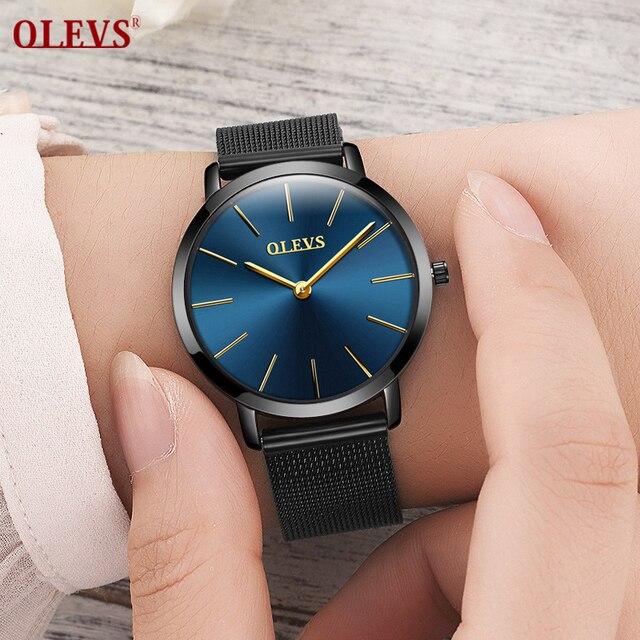 Женские часы olevs роскошный полный Сталь кварц женский Часы модные Повседневное Простой наручные часы Бизнес часы 2017, женская обувь