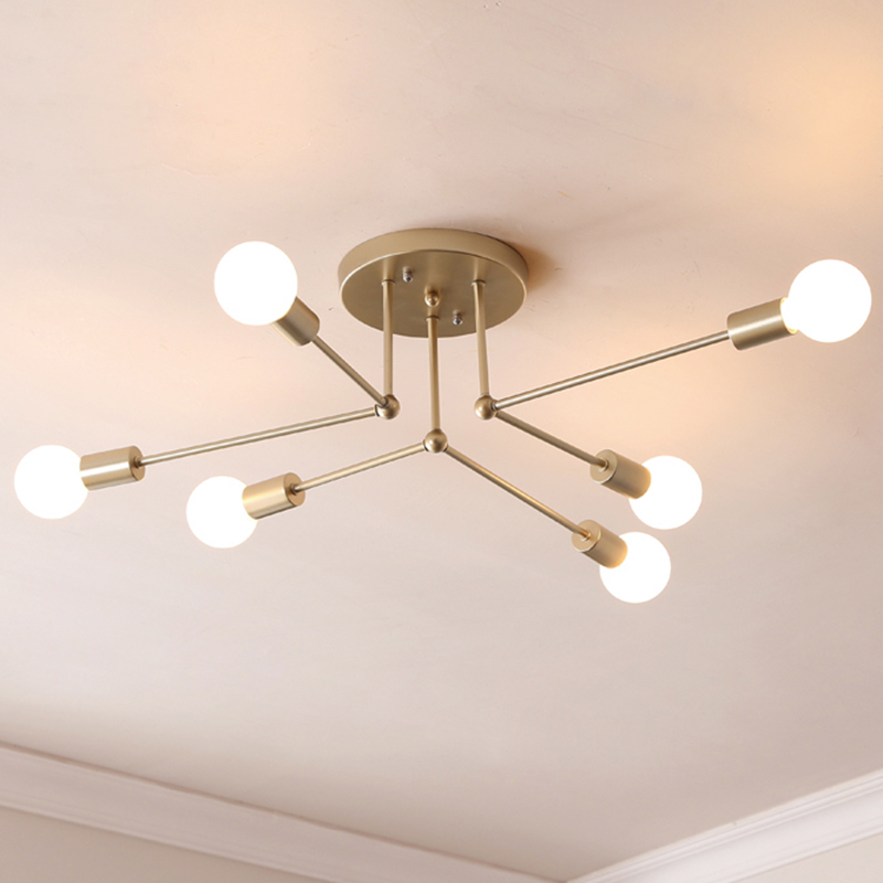 Modern Multiple Rod Dome Night Lamps Ceiling Light Wrought Iron E27 Bulb Cafe Bar Home Decor Lighting Holder Fixture new fashion modern e27 metel bedside black silver study lamp wrought iron dimming lamps light lighting fixture free shipping