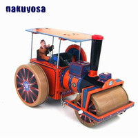Steam Road Roller Simulation Tin Toy Metal Wind Up Toys Restoring Mechanical Vehicle Hobby Toys Kids Gifts