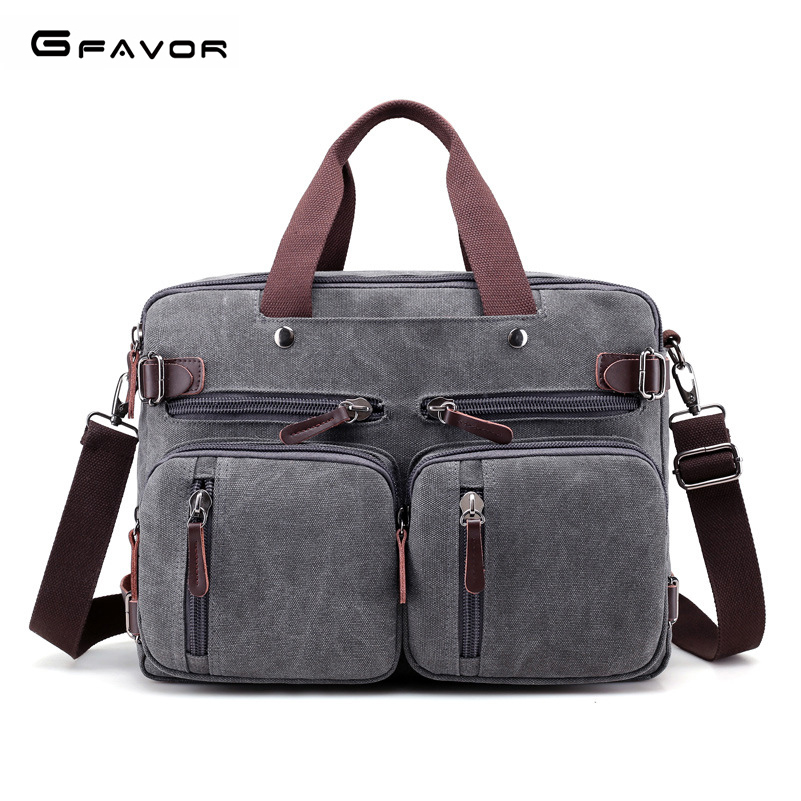 G-FAVOR Multi-function Messenger Bag Men Canvas Casual Travel Tote Large Capacity Shoulder Bag Laptop Handbag Crossbody Computer high quality authentic famous polo golf double clothing bag men travel golf shoes bag custom handbag large capacity45 26 34 cm