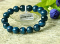 Discount Wholeslae Natural Genuine Dark Green Apatite Finished Beaded Stretch Men's Bracelet Round beads 8-12mm 03253