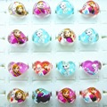 hot sell 50pcs popular  elsa anna Lovely Mix Resin Cartoon Girls Princess Children Rings Wholesale Jewelry Lots