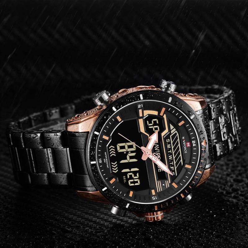 Naviforce Original Luxury Full Steel Quartz Watch Men Clock Digital LED Army Military Sport Wristwatch relogio masculino 9133 все цены