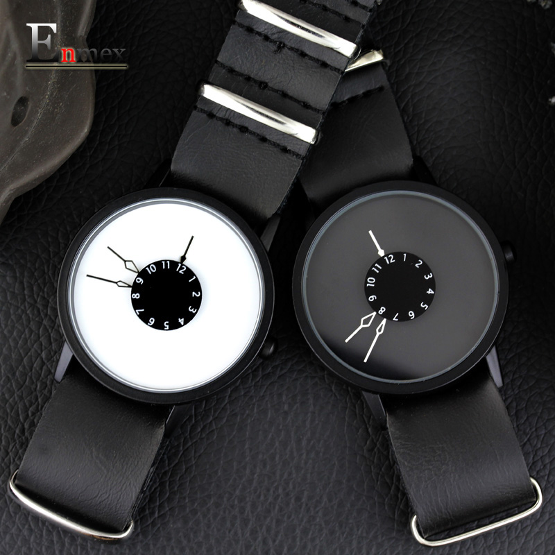 2018 men gift Enmex brief design long removable strap creative Upside down hand unique design for young fashion quartz watches 2017 gift enmex creative simple design brief face with a red pointer leather band water prof young and fashion quartz watch