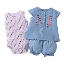 Brandwen 2017 Baby Girl Clothing 3pcs Set Cotton Denim Summer Print Sleeveless Fashion Clothes Bodysuit + Blouse + Shorts Suit