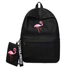 Mochila de marca de mochilas para mujer Simple con estampado de flamencos para niñas adolescentes mochilas escolares Mochila 2019