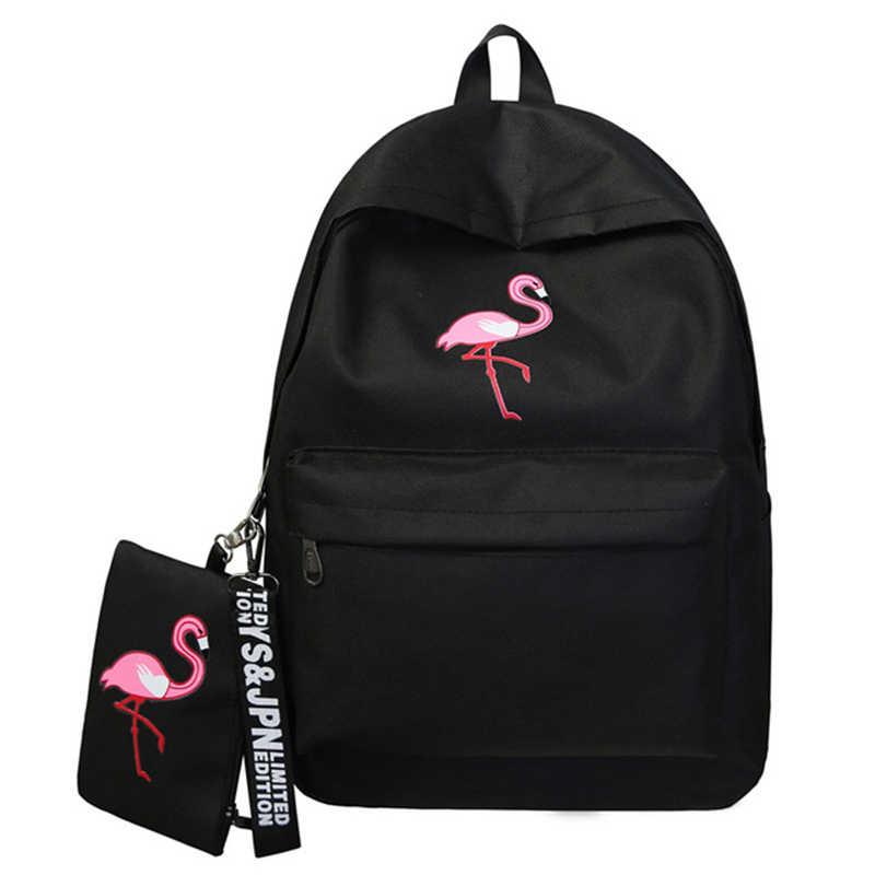 Rugzakken Merk Vrouwen Eenvoudige Flamingo Afdrukken Rugzak Voor Tienermeisjes Laptop Schooltassen Mochila 2020