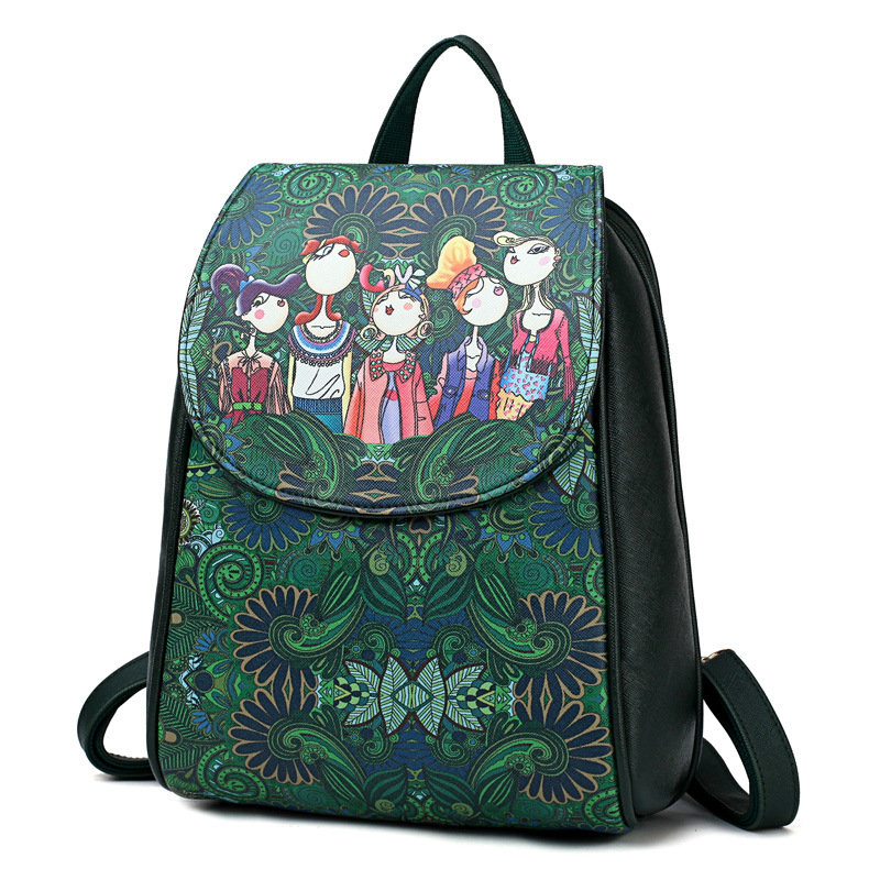 Green Forest Bagpack High Quality PU Leather School Bags for Teenagers Girls 2018 Women Travel Backpack Ladies Bags mochila femiGreen Forest Bagpack High Quality PU Leather School Bags for Teenagers Girls 2018 Women Travel Backpack Ladies Bags mochila femi