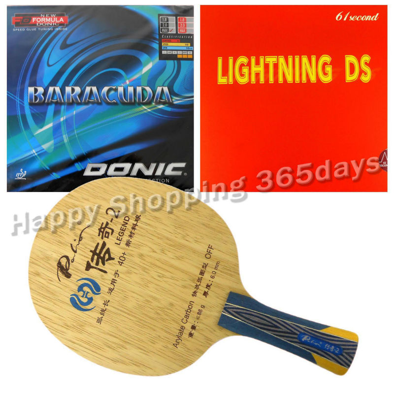 Pro Table Tennis PingPong Combo Racket Palio Legend-2 with 61second Lightning DS and Donic BARACUDA 12080 Long Shakehand FL pro table tennis pingpong combo racket palio chop no 1 with kokutaku 119 and bomb mopha professional shakehand fl