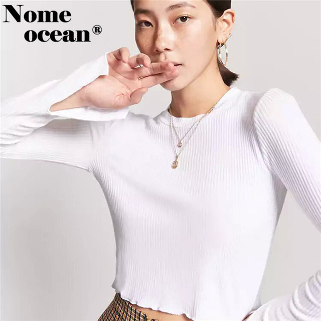 Ribbed Lettuce-Edge Crop Top Slit Cuffs Women s Long Sleeve T-shirts 2018  New 4ab4b757c7