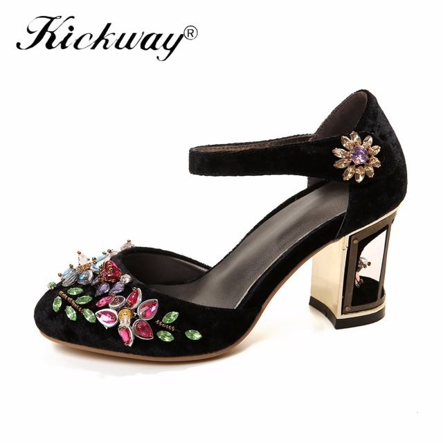 29dc0fa481b0e US $42.22 39% OFF Kickway Women High Heel Shoes Woman New Sweet Round Toe  Crystal Pumps Strange Style Heels Party Shoes women Plus size 34 43-in ...