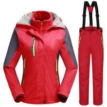 -30 Stopni Winter Warm Narciarski kombinezon dla Kobiet Wodoodporna 10 K Oddychająca Snowboard Kurtki + Spodnie Kobiece Sporty Na Wolnym Powietrzu ubrania Zestaw