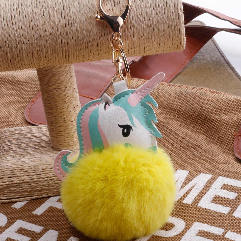 Bonito Dos Desenhos Animados do Unicórnio Fofo Pom Pom Pele Chaveiro Pingente de Pelúcia Brinquedo Animal de Pelúcia Chaveiro Ornamento Do Carro Brinquedos Para Menina Crianças presente