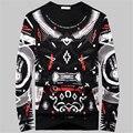 ¡ Caliente! impresión abstracta de manga larga marea camiseta de marca para hombre 3D Camiseta de Los Hombres Hombres Camiseta de Manga larga Tamaño Grande Tees & Tops T Camisa de Los Hombres