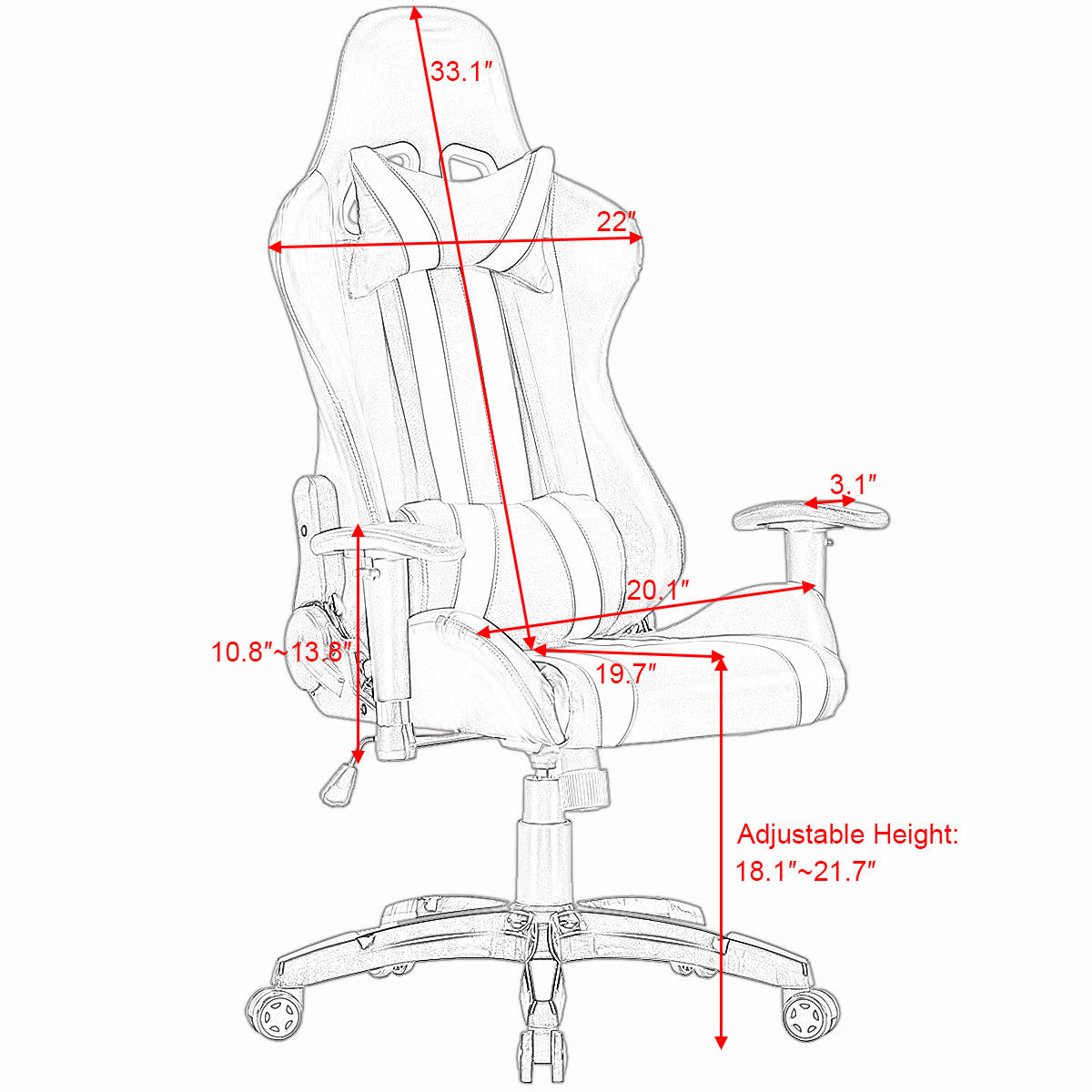 High Back Executive Racing Style Office Chair  1