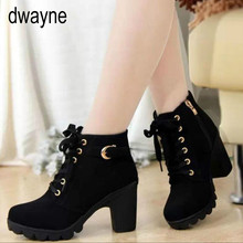 2019 New Autumn Winter Women Boots High Quality Solid Lace-up European Ladies shoes PU Fashion high heels Boots 869io