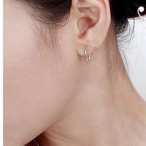 Yiting 1 Pair Hoop Earrings Silver Small Thin Smooth Circle Brand Loop For Women