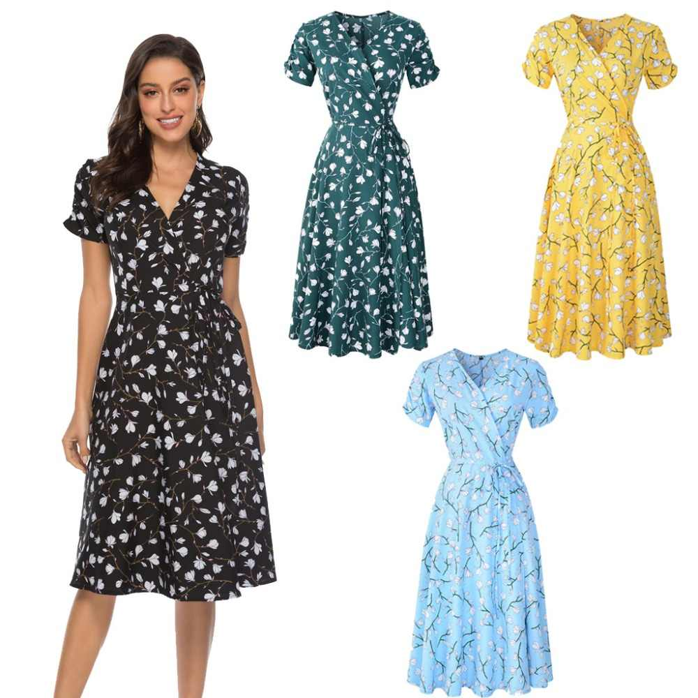 2019 New Summer Dress Women Boho Beach Dresses Casual Short Sleeve Chiffon Print Vintage Midi Dress Female Elegant Robe Vestidos