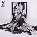 2016 Senhoras Novas de Inverno Cachecóis Wraps Preto Branco Acessórios Longo Lenço De Seda Impresso 200*110 cm Moda Sombra Verão xale