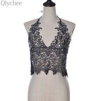 Elegant White Lace Women Crop Top Deep Sleeveless Deep V Halter Camis Embroidery Crochet Women Tank